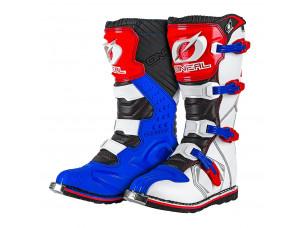 Мотоботы кроссовые RIDER Boot бело-сине-красные